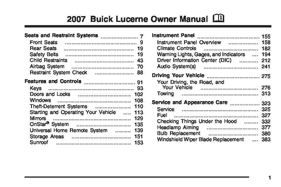 2007 buick lucerne owners manual