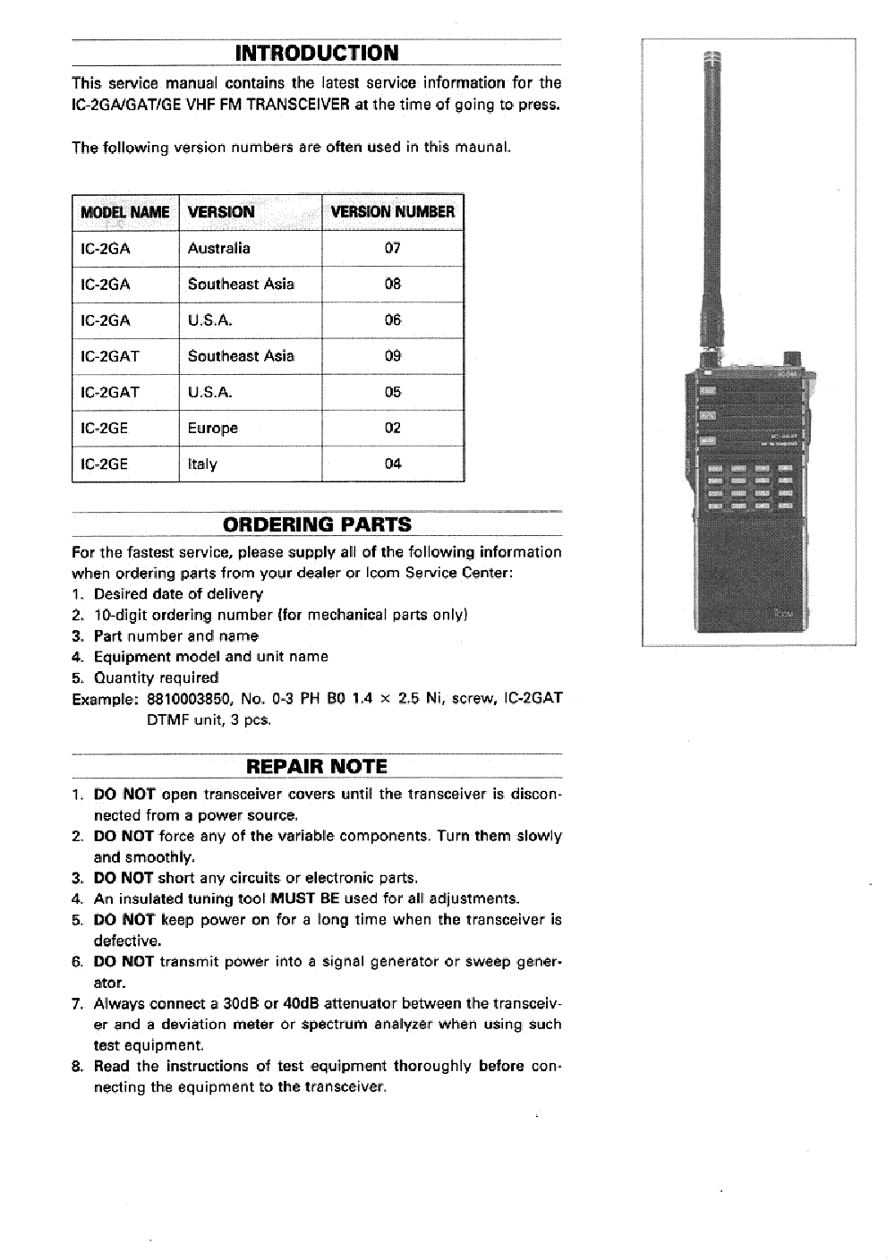 icom ic 2gat service manual