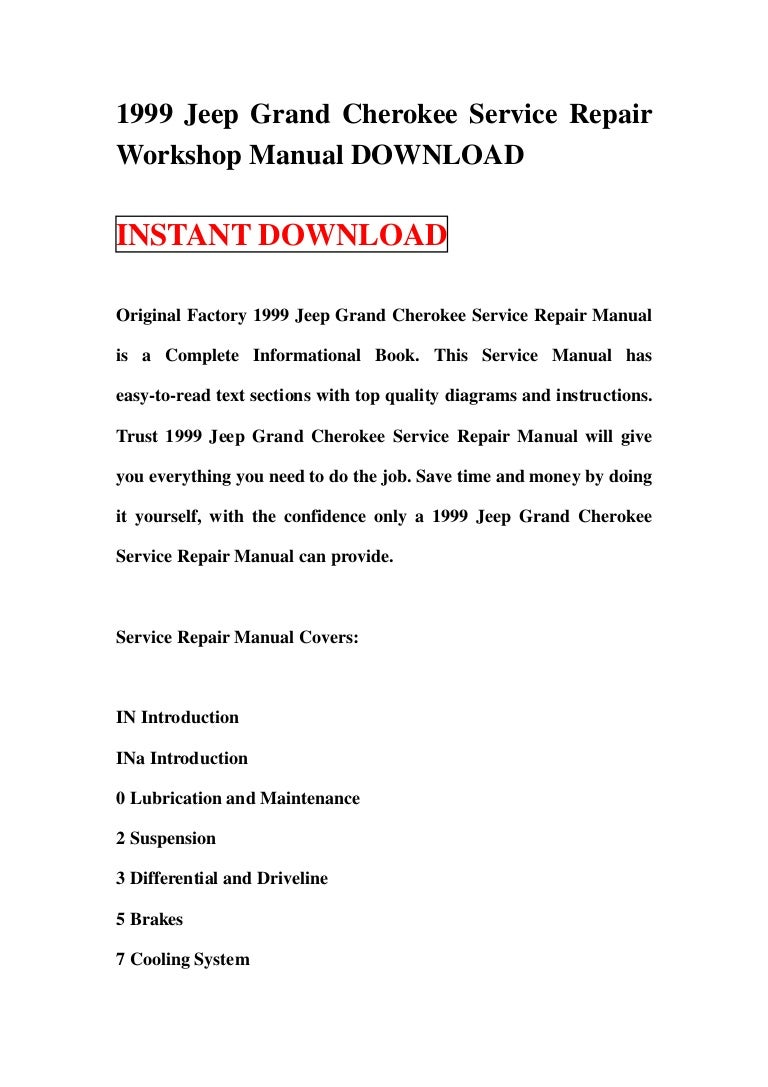 1999 jeep grand cherokee service manual download