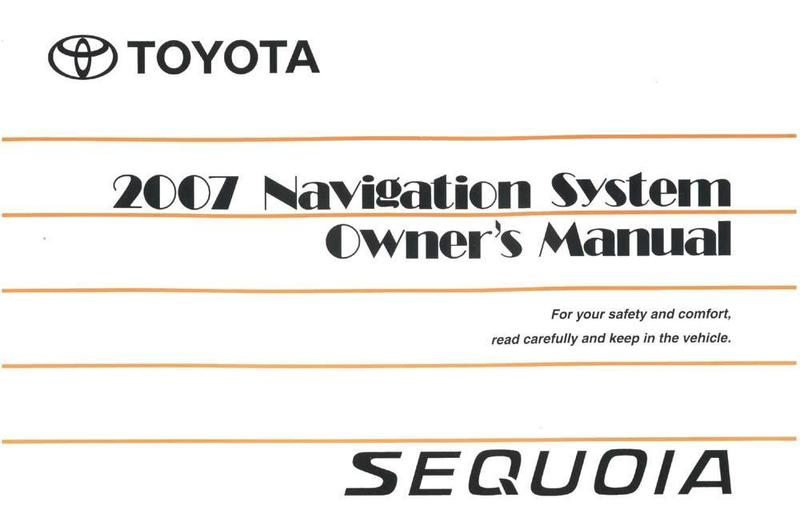 2007 toyota sequoia owners manual